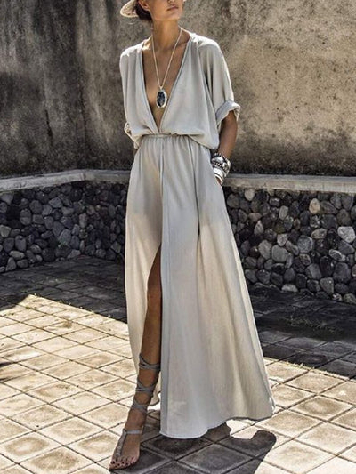 BOHOFREE Plunging Neckline Solid Boho Dress Pockets Long Dress Female High Waist Split Hem Maxi Hippie Vestidos Femme 2XL Dress
