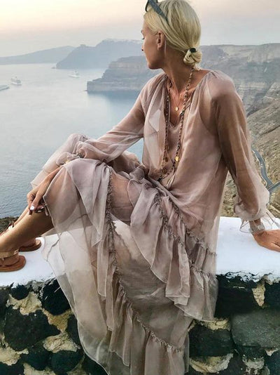 BOHOFREE Solid Color Falbala V-neck See-Through Maxi Dress Ruffles Long Sleeve Holiday Beach Hippie Verstidos Femmes