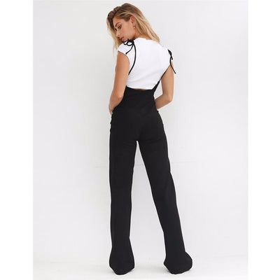 BOOFEENAA Black High Waist Wide Leg Pants Casual Lace Up Overalls Women Pant Summer Fashion Flare Trousers C34-AA27