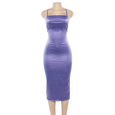 BOOFEENAA Purple Satin Silk Sexy Dress Club Wear Spaghetti Strap Lace Up Backless Midi Pencil Dress Party Bodycon Dresses C71AA7