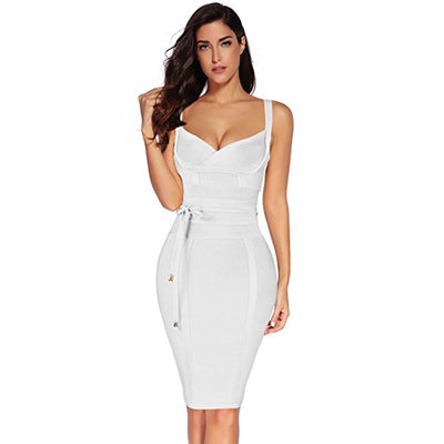 BOUSSAC Women Party Bandage Dress Sexy Spaghetti Strap Deep V Backless Prom Summer Bodycon Dress Dress