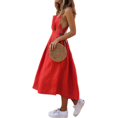 Backless Criss Cross Bow Red Midi Dress Sexy Sleeveless Button Bandage Lace Up Women Summer Dresses Spaghetti Strap Party Dress
