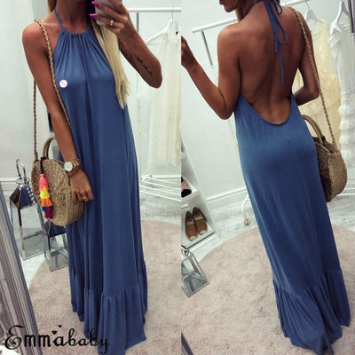 Backless Dress Women Maxi Dress Boho Pure Color Summer Long Dress Spaghetti Strap Evening Party Dress
