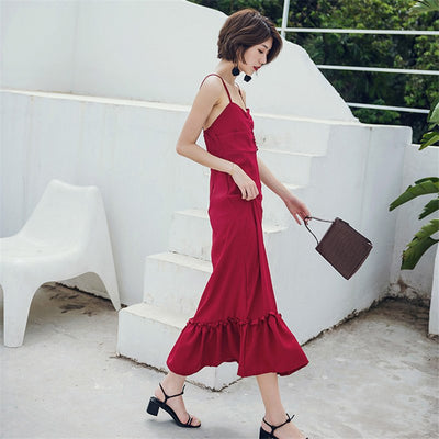 Backless Dresses Woman Party Night Vintage Sexy Spaghetti Strap Red Dresses Ladies Ruffles Summer Dress Sundresses VestidoYT5006