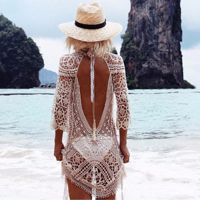Backless cut out summer lace beach dresses ladies casual new hollow out sexy hot women dress white pareos swimwear