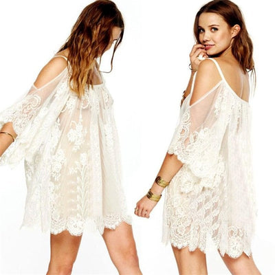 Beautiful Fashional Natural Regular Vintage Hippie Boho People Embroidered Floral Lace Crochet Mini Dress Sexy Clothes