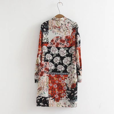 Bella Philosophy New Spring Floral Printed Dress Women Casual Long Sleeve Shift Dress Female Printed Dress Ladies Dress