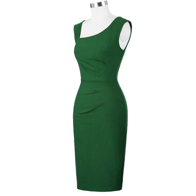 Belle Poque Women Office Dress Retro Vintage Sleeveless Back Split Vestidos Hips Wrapped Green Business Bodycon Pencil Dresses