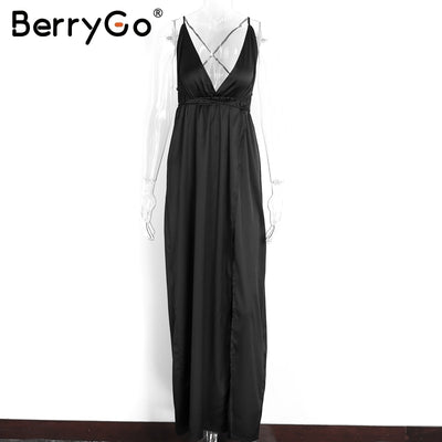 BerryGo Elegant backless satin long dress Women casual evening summer dress Party sexy black red beach maxi dresses vestidos
