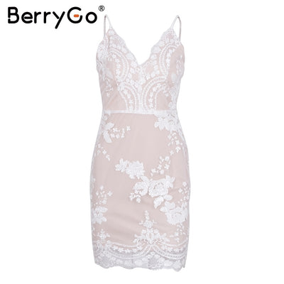 BerryGo Sexy strap backless mini dress women V neck sequin party christmas dresses vestidos autumn skinny vintage short dress