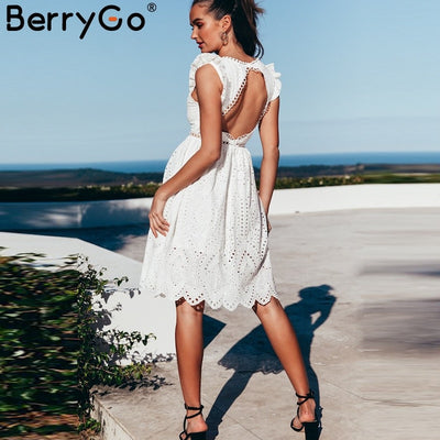 BerryGo Sexy white women summer dress Hollow out v neck embroidery cotton dress Party backless knee-length female vestidos