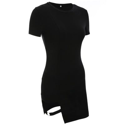 Black Harajuku Dresses Women Summer Short Sleeve Sexy Hollow Out Asymmetrical Metal Ring Slim Mini Dress Gothic Girls