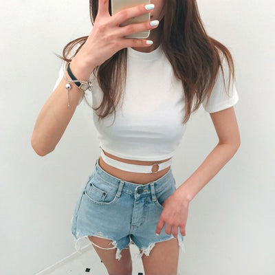 Black Harajuku Tops Tee Sexy Hollow Out Short Tees Iron Ring Belt Decoration Women T Shirt Short Sleeve Slim Summer T-Shirt