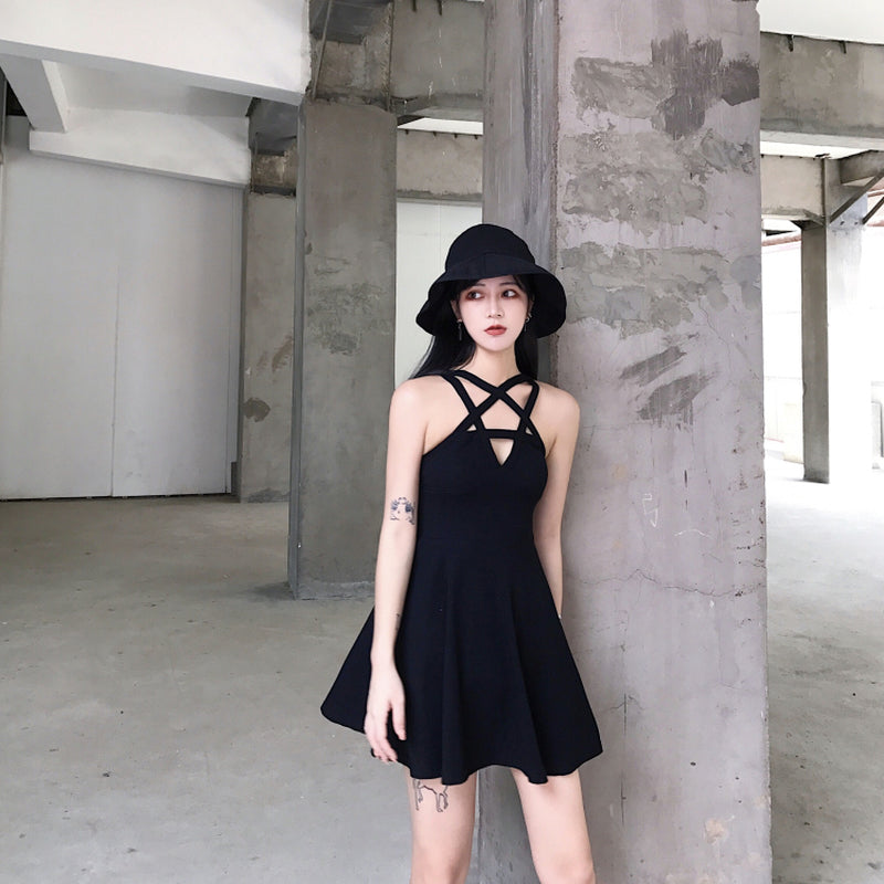 Design Hollow Women Sexy Pentacle Summer Dress Black Sleeveless htsCQxrdB