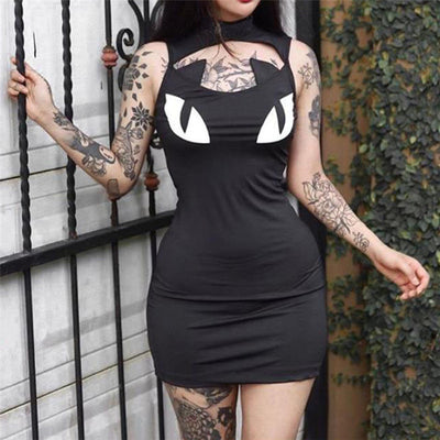 Black Punk Goth Dresses Women Gothic Symbol Cat Eyes Printed Chic Chest Hollow Out Sleeveless Slim Mini Dress