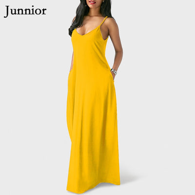 Black Yellow Spaghetti Strap Dress Women Maxi V-neck Solid Color Backless Clubwear Womens Plus Size Dresses for Ladies 5XL