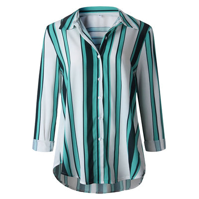 Blouse Women Summer Autumn plus size Female Casual Cuffed Long Sleeve V-Neck Button Up Striped Shirt Blouse Tops S.14