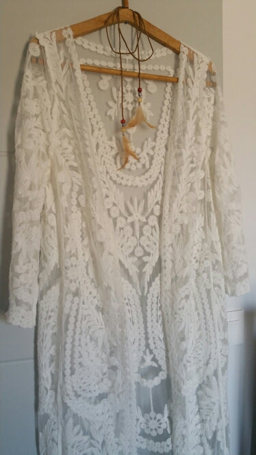 Boemian Holiday Beach Crochet Floral Lace Long Cardigan Dress Boho Mujer Open Stitch Long Sleeve Solid Cotton Maxi Hippie Dress