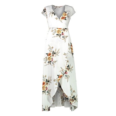 Bohemia Floral Print Summer Sexy Backless Dress Women Vintage V Neck Beach Holiday Seaside Halter Dress Boho Vestidos