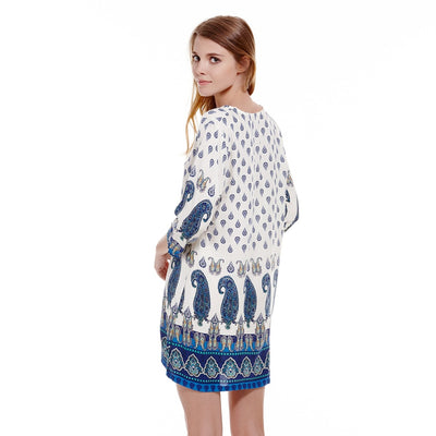Bohemian Dress Vintage Floral Print Style 3/4 Sleeves Shift Autumn Dress Loose Women Dress