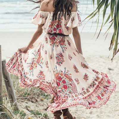 Bohemian Holiday Summer Beach Vestidos Gypsy Ethnic Women Off The Shoulder Ruffles Floral Boho Hippie Maxi Midi Dress