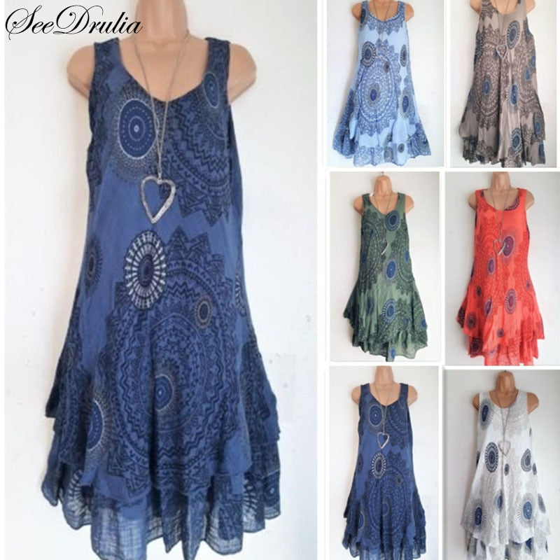 Bohemian Style New Soft Sleeveless Printing A-Line Dress For ...
