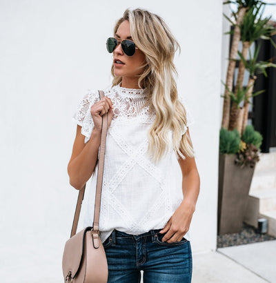 Boho Beach Summer Womens Tops and Blouses elegant Casual Short Sleeve Ladies Lace Blouse Loose Harajuku white blusa feminina
