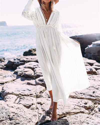 Boho Deep V Neck Hollow Out Long Dress Women Plus Size Summer Beach Tunic White Cotton Sexy A Line Long Dress Vestidos N274