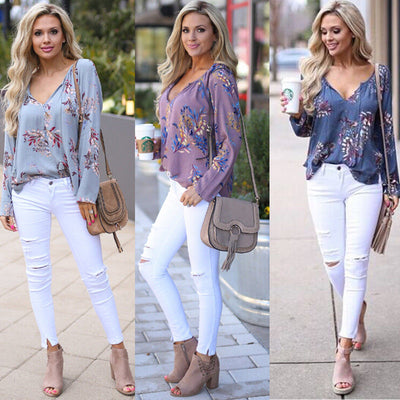 Boho Deep V-neck Chiffon Blouse Tops For Women Autumn Long Sleeve Floral Print Loose Shirts Tops Plus Size S-2XL