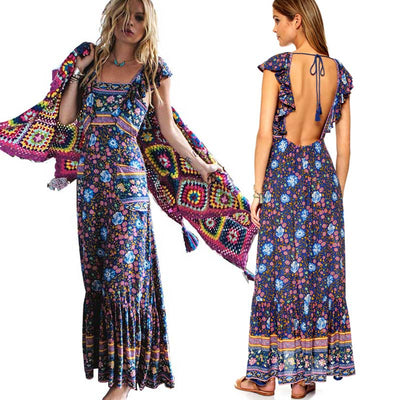 Boho Inspired summer dress floral print cotton backless long maxi dress hippie chic ruffles sleeve dresses women vestidos