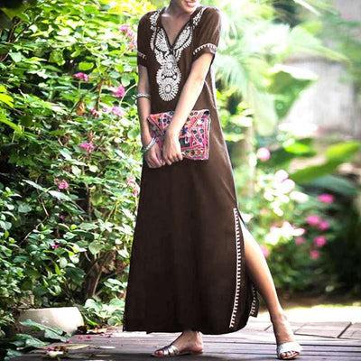 Boho Printed Dress Women VONDA Summer Casual Sexy V Neck Short Sleeve Split Hem Soild Maxi Dress Elegant Vestidos Plus Size