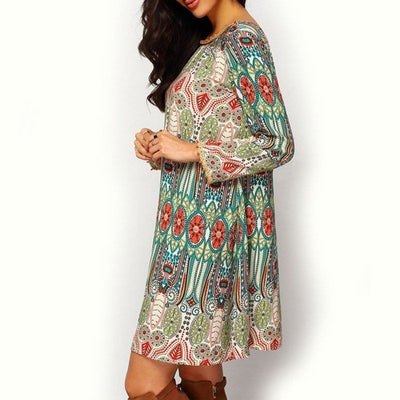 Boho Women Autumn Hippie Ladies Party Evening Beach loose Casual mini dress Long sleeve ethnic style print Above knee Mini Dress