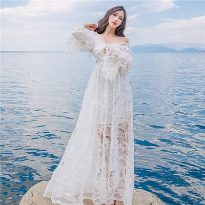 CBAFU hollow out sexy white lace dress women dress boho people hippie chic lace beach long dress femme vestidos runway X590
