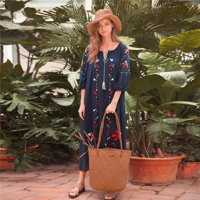 CBAFU large size tassel floral print long dress o neck black red white hippie chic beach dress casual summer boho dress N470
