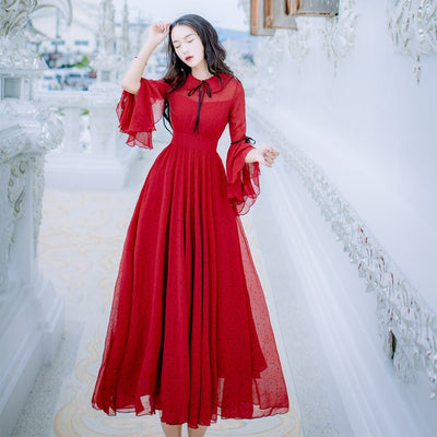 CBAFU long maxi chiffon dress femme vestidos flare sleeve dot print red dress boho chic hippie women dress runway summer X577