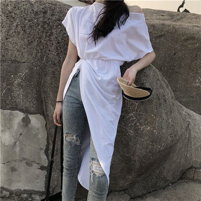 CBAFU slash neck shoer sleeve asymmetrical dress women summer hippie chic solid white dress sexy bandage bodycon dress N326