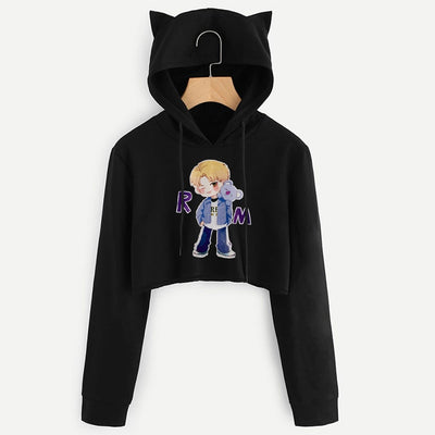 CDJLFH BTS Album Kpop Long Sleeve Cropped Hoodies Autumn Sweatshirt Women Cat Hooded Pullover Crop Tops Winter Sweatshirt
