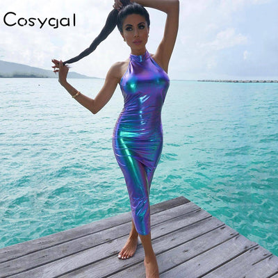 COSYGAL Halter Reflective Bodycon Dress Women Sleeveless Long Summer Dress Backless Sexy Party Dresses Elegant Vestidos
