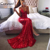 COSYGAL Summer New Banquet V Neck Sequin Maxi Dress Sexy Spaghetti Strap Backless Dresses Women Club Party Elegant Vestidos