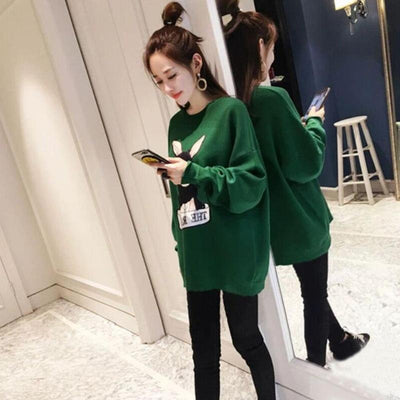 Cartoon Rabbit Women Long Sweatshirt Autumn O-Neck Daily Pullover Loose Bottoming Tops