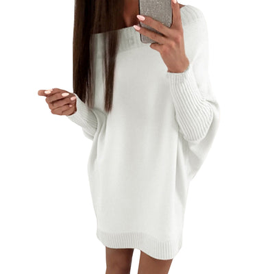 Casual Knitted Dress Solid Loose Autumn Winter Dress Women O Neck batwing Long Sleeve Mini Sweater Dresses Pockets Vestidos