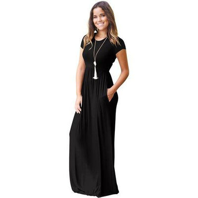Casual Long Summer Dresses For Women 2019 Short Sleeve Pocket Floor Length Maxi Dress Women O Neck Solid Dress Female Vestidos