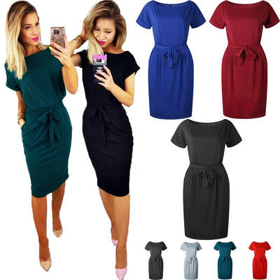 Casual O-Neck Summer T Shirt Dress 7 Color Solid Trim Dress Women Party Club Mini Dress With Belt robe femme ete