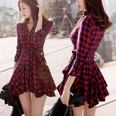 Casual Sexy Autumn Winter New Women Red Retro Long Sleeve Mini Dress Plaid V Neck A Line Dress