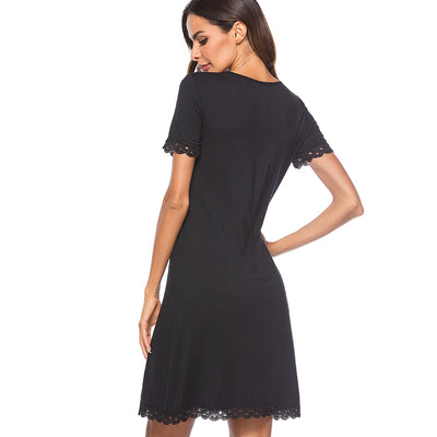 Casual Summer Shift Black Dress Women Elegant Round Neck Loose Straight Dress HT029