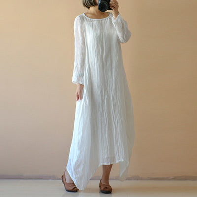 Celmia Plus Size Women Retro Linen Dress Ladies O Neck Long Sleeve Casual Thin Summer Boho Beach White Long Maxi Vestidos