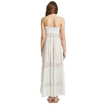 Clobee Robe Femme Ete Summer Women Boho Hippie Dress White Long Strapless Hollow Out Off Shoulder Embroidery Loose JC178
