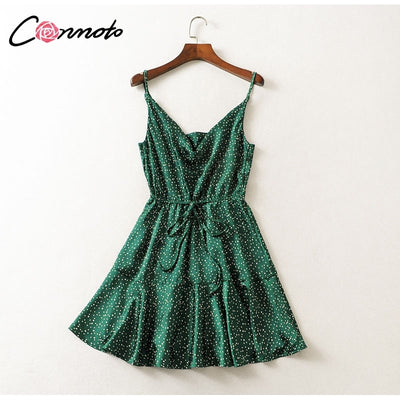 Conmoto Summer Sexy Strap Backless Stain Short Dress Women Casual High Street Polka Dot Dress Beach Party Holiday Vestidos