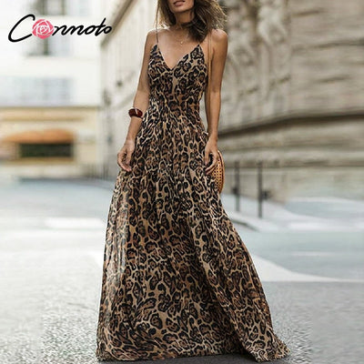 Conmoto Leopard Print Chiffon Maxi Dress Women Backless Long Sexy Party Dresses Spaghetti Strap Casual Dress Vestidos