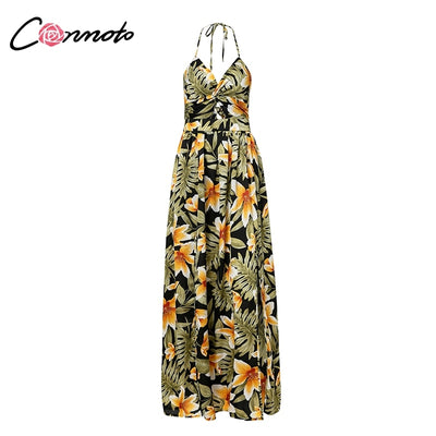 Conmoto Printed Lace up Party Maxi Dress Women Backless Split Spaghetti Strap Sexy Dress Sexy Empire V Neck Long Dress Vestidos